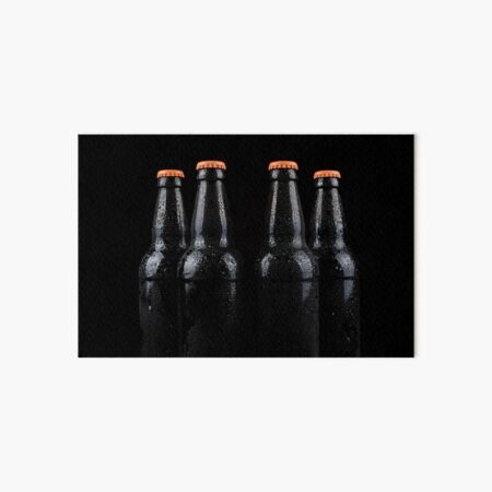 Bottles of beer with water droplets Art Board Print