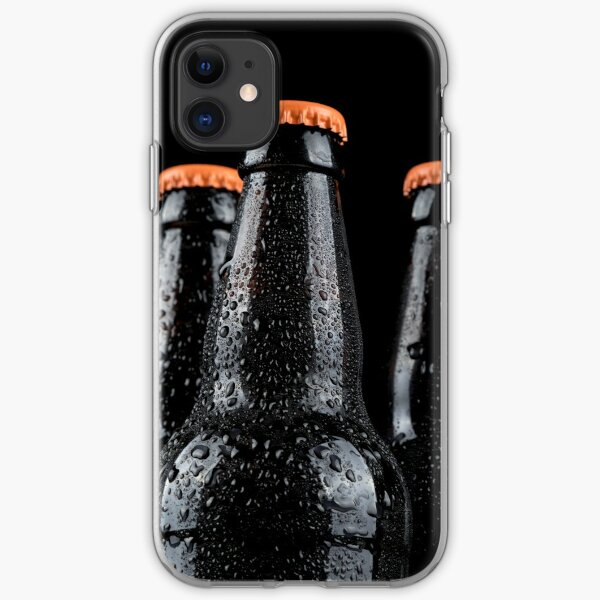 Bottles of beer with water droplets isolated on black background iPhone Soft Case