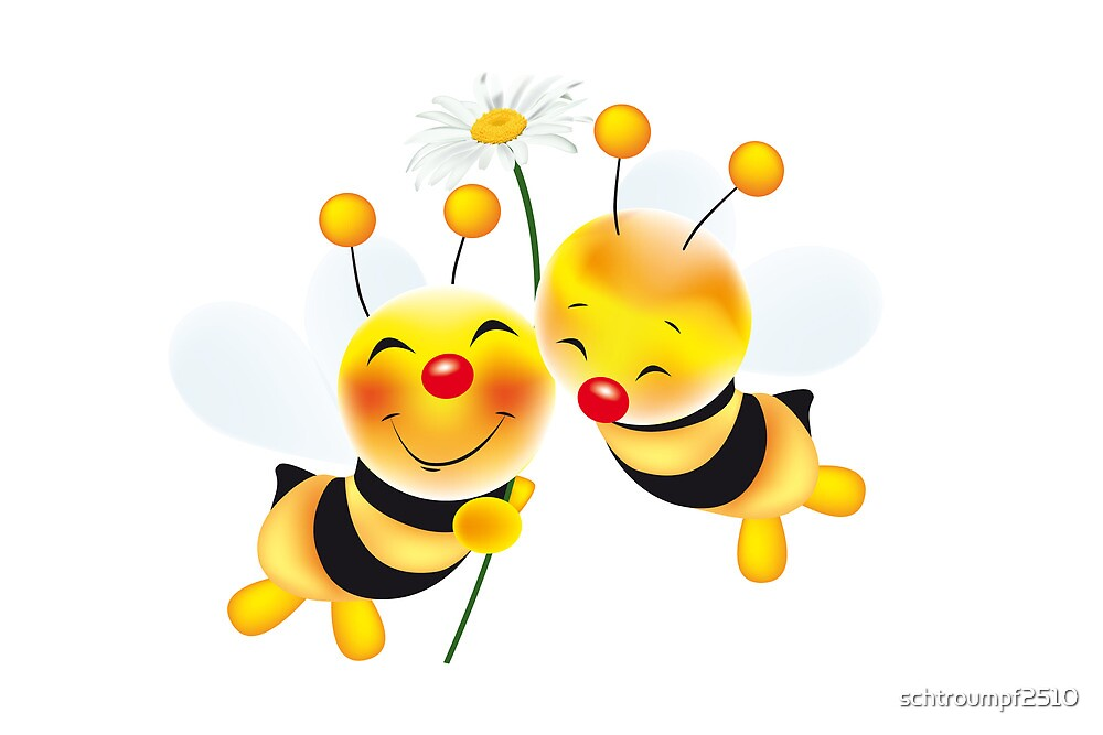 two cute bees in love by schtroumpf2510