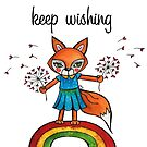 Keep Wishing: Cute Fox Watercolor Illustration  by mellierosetest