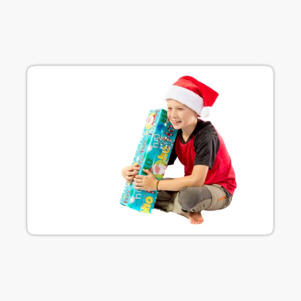 Pre-teen boy with a christmas gift Sticker