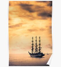 Tall ship in red sunset Poster