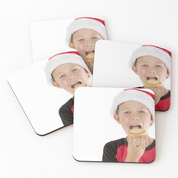 Pre-teen boy about to eat a mince pie Coasters (Set of 4)