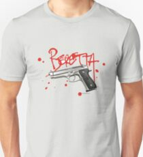 Beretta 9mm Hand Gun - Red Script  Unisex T-Shirt
