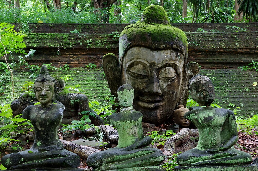 Ancient Buddha images, Wat Umong, Thailand by John Spies