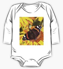 Red Admiral;Yellow Flower One Piece - Long Sleeve