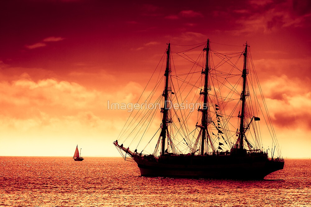 Sailing to red sunset by Plrang Art
