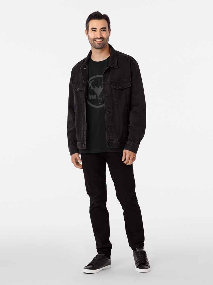 Alternate view of Hollywood Monsters Circle Bat Logo - DARK GREY Premium T-Shirt