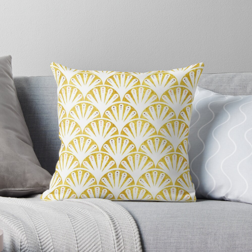 Art deco gold and white fan pattern Throw Pillow