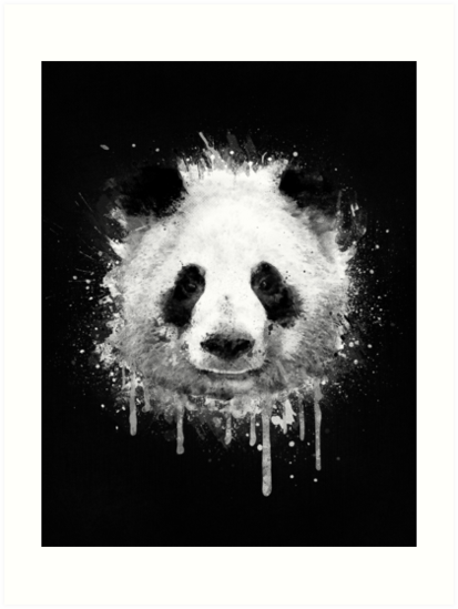 Cool abstract graffiti watercolor panda portrait in black white by badbugs
