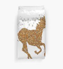 gold glitter unicorn Duvet Cover