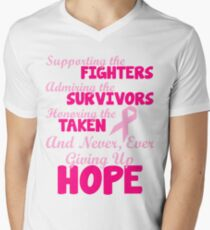 Supporting The Fighters Breast Cancer Awareness Men's V-Neck T-Shirt