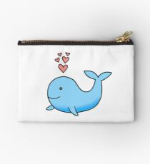 Whale with Hearts Zipper Pouch