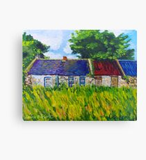 Deserted Roadside Cottages, near Downpatrick, County Down Canvas Print