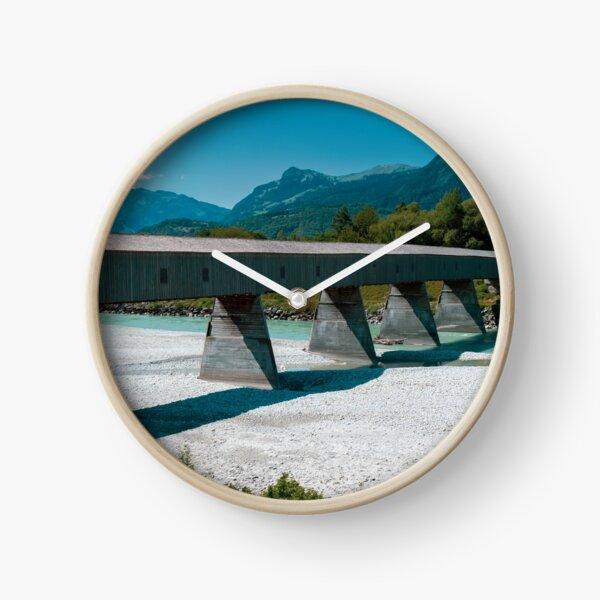 The Alte Rheinbrücke across the river Rhine  Clock