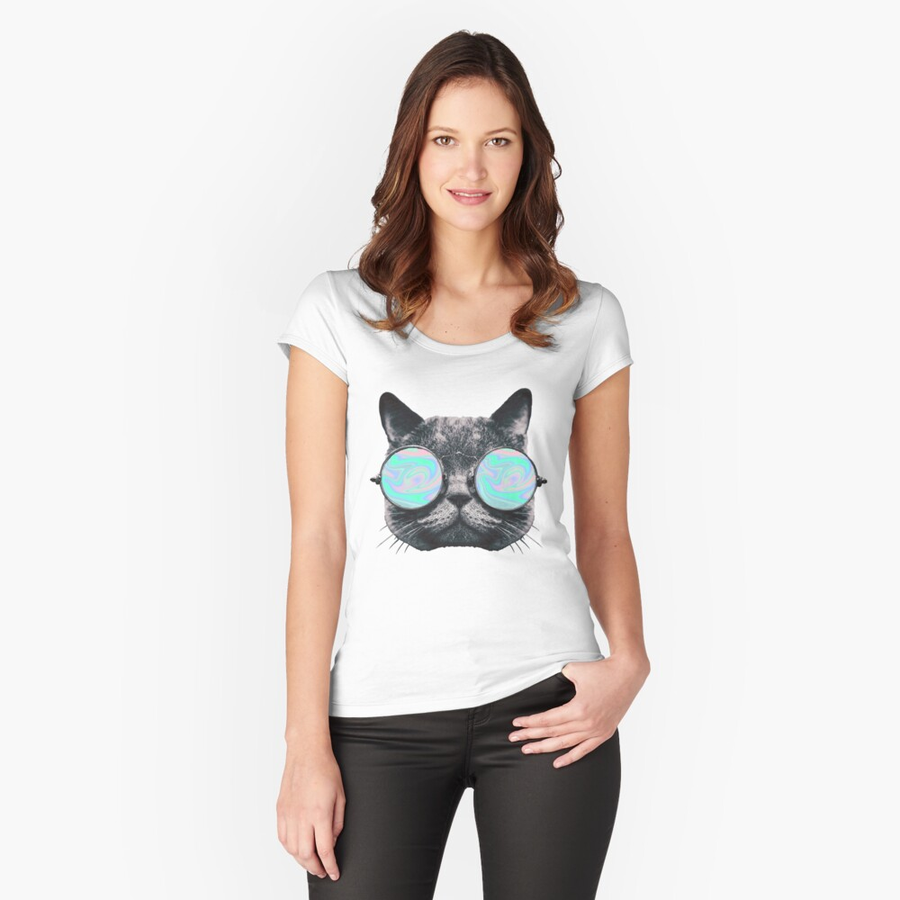 Cat Eye Hologram Women's Fitted Scoop T-Shirt Front