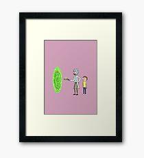 Rick & Morty makin' a portal Framed Print