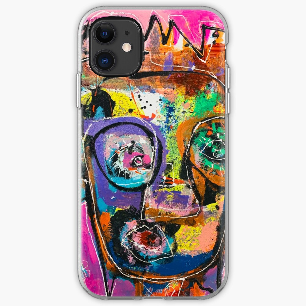 Neoexpressionism, art brut, spontaneous art, black and Colors, free figuration iPhone Case & Cover