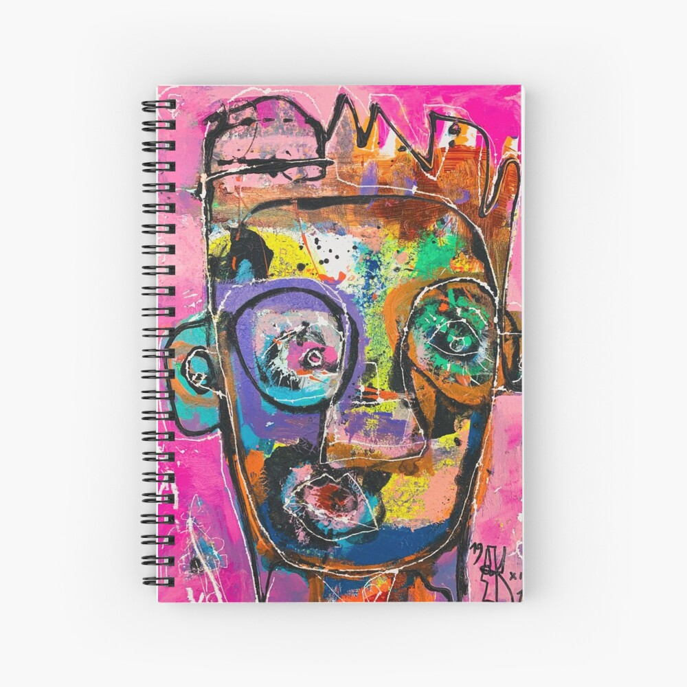 Neoexpressionism, art brut, spontaneous art, black and Colors, free figuration Spiral Notebook