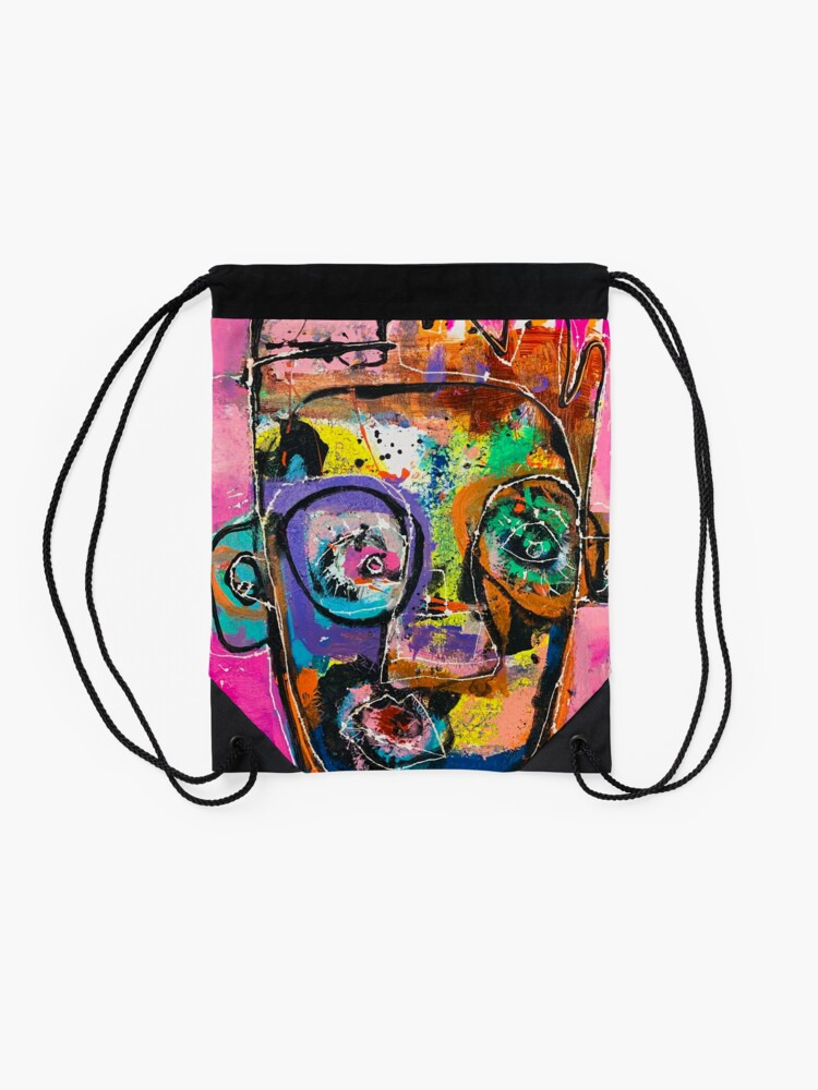 Alternate view of Neoexpressionism, art brut, spontaneous art, black and Colors, free figuration Drawstring Bag