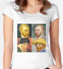 Vincent Van Gogh - 4 Self Portraits Women's Fitted Scoop T-Shirt