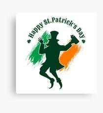 Saint Patricks Day emblem with joyful leprechaun.  Canvas Print