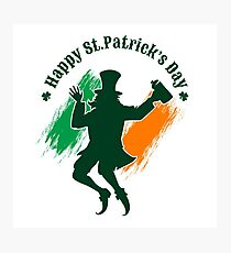 Saint Patricks Day emblem with joyful leprechaun.  Photographic Print