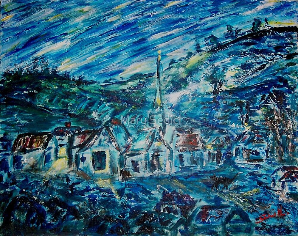 Village in Blue  by Mary Sedici