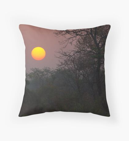 Sunrise, Assam, India Throw Pillow