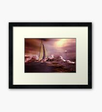 Racing the storm to safety Framed Print