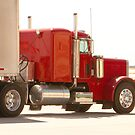 Bright Red Tractor with Trailer by Buckwhite