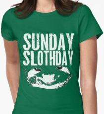 sloth black & white Womens Fitted T-Shirt