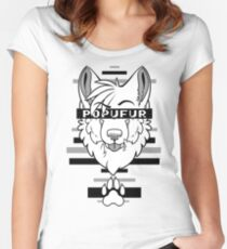 POPUFUR -grey- Women's Fitted Scoop T-Shirt