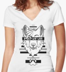 POPUFUR -grey- Women's Fitted V-Neck T-Shirt