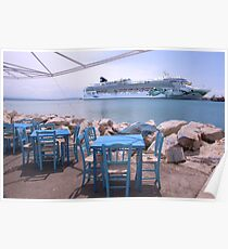 A Cruise ship in Greece Poster