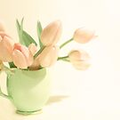 Pink Tulips, Green Jug by Margi