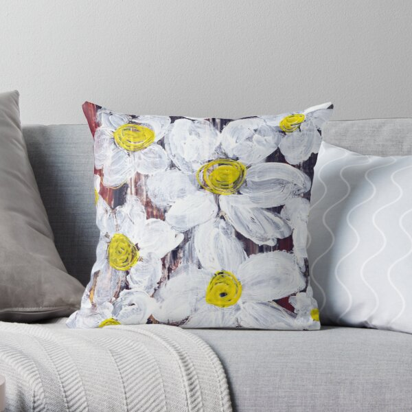 A MESS OF DAISIES Throw Pillow