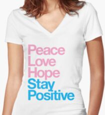 Peace Love Hope Stay Positive (pink/blue) Women's Fitted V-Neck T-Shirt