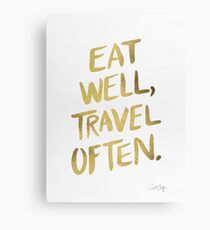 Eat Well, Travel Often – Gold Canvas Print