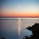 Moonset Over Bass Harbor Bay – Acadia National Park, Maine by Jason Heritage