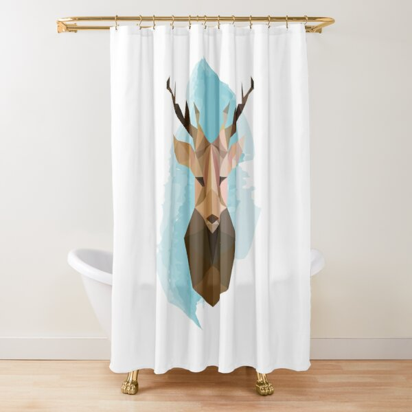 Geometric Reindeer Head Shower Curtain