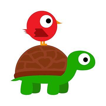 Turtle Birdy Buddies by illumistration