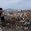 A  boy and a dog  in the disaster area , JAPAN IWAT by yoshiaki nagashima