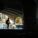 Cycling Under Narrows Bridge by Eve Parry