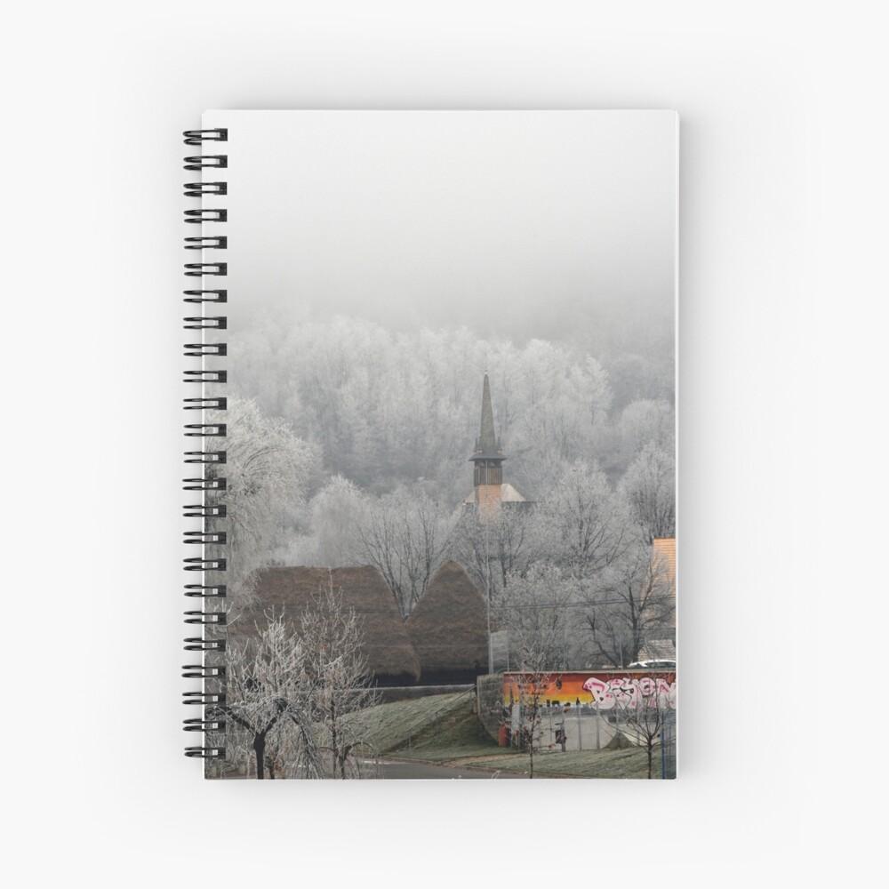 Winter scene - wooden church Spiral Notebook