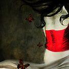 Corset Rojo y Mariposas by DMCart Daniela M. Casalla