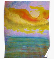 Lovely sunset over the ocean, watercolor Poster