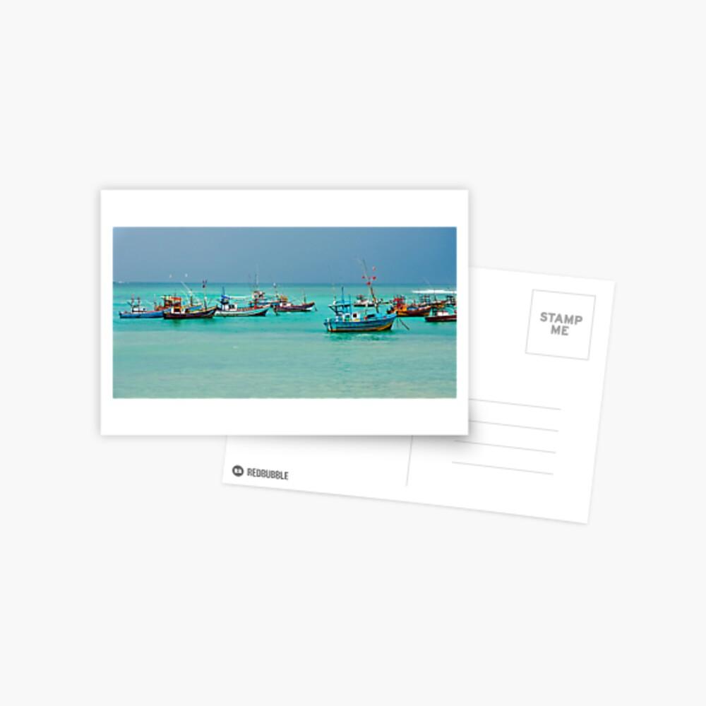 Colourful Fishing Boats Postcard