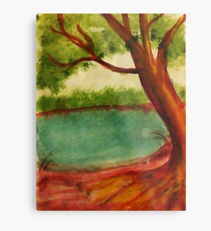 Old tree along shore path, watercolor Metal Print