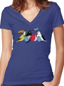 Furious Feathered Friends Women's Fitted V-Neck T-Shirt
